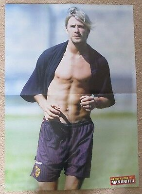 MANCHESTER UNITED  Large double sided poster David Beckham 1999 Man Utd