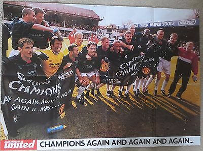 MANCHESTER UNITED Giant double sided poster Premier League Champions 2000 Man Ut
