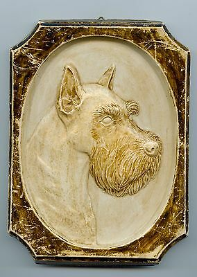 Vintage Dog Wall Hanging Schnauzer Plaster Plaque Ready To Hang