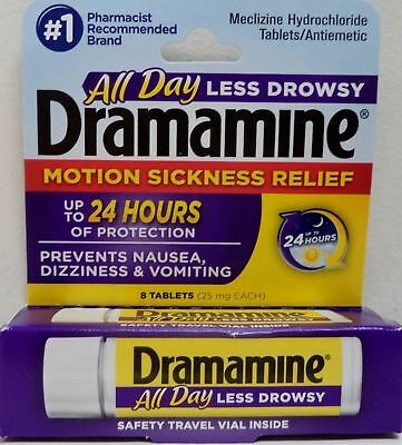 Dramamine Motion Sickness Relief Less Drowsy Formula 8 Tablets