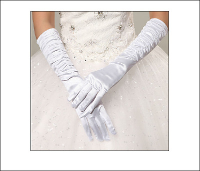 White long satin wedding Bride Party Gloves bridal Accessories NEW