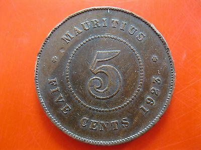 Mauritius 1923 5 Cents Coin~King George V~Bronze~Vg