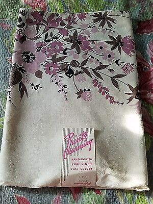 "VINTAGE TABLECLOTH NU OLD STORE STOCK purple lavender Floral ""PRINTS CHARMING"""
