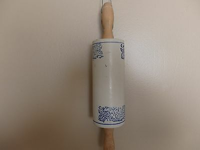 Antique Vintage Blue & White Stoneware Crock Rolling Pin 1900s