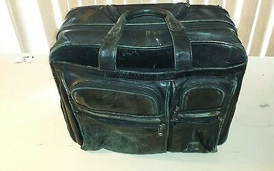 TUMI ALPHA Deluxe Leather Expandable Briefcase CARRY-ON ROLLING 96103D4 EUC