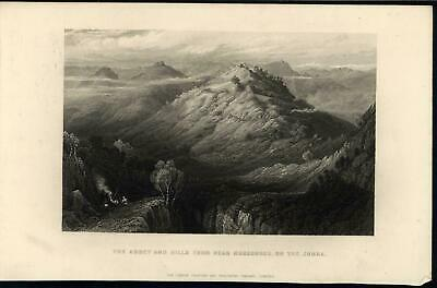Abbey & Hill Jumna River Mountain Scenery India c.1860 antique engraved print
