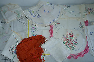 Vintage Linens Doily Table Runners Dresser Scarf Embroidered Scarves LOT