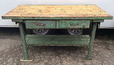 Antique Vtg Industrial Green Painted Work Bench Table Machine Age Cast Iron Legs