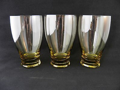 """3 Russel Wright American Modern Iced Tea Glasses Chartreuse Morgantown 5¼"""" 15 oz"""