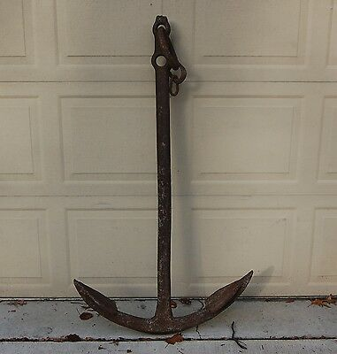 "Large Antique Cast Iron Maritime Ship Anchor, 54"" Tall and 31"" Across the Anchor"