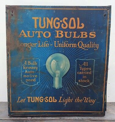 Vtg 20s 30s TUNG-SOL Auto Light Bulbs Tin Metal Case Cabinet Counter Display