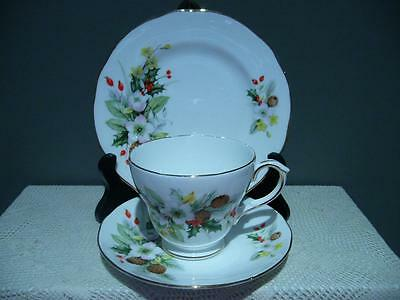 Duchess Bone China 'winter' Floral Trio - Cup Saucer Plate - England - Vgc