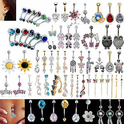 N Beauty Crystal Flower Dangle Navel Belly Button Ring Bar Body Piercing Jewelry