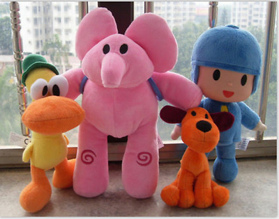 4ps Bandai Pocoyo Elly Pato Loula Soft Plush Stuffed Figure Toy Doll Child gift