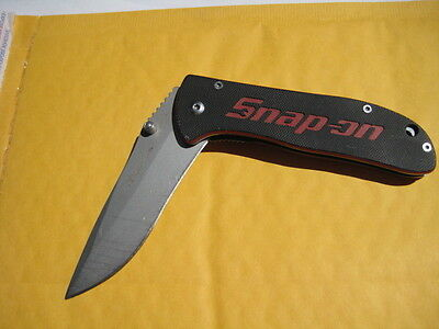 snap-on folding pocket knife with clip 7crl7mov red and black handle