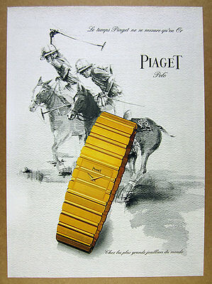 1985 Piaget POLO Gold Watch players horses art French vintage print Ad