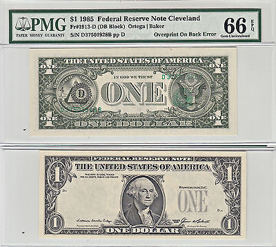 1985 $1 Overprint On Back Error Note F-1913-D PMG Gem Uncirculated-66 EPQ