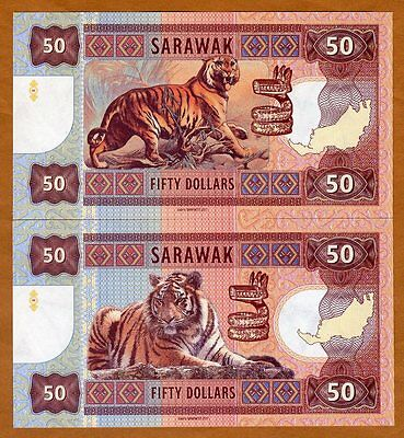SET Sarawak, 2 x 50 dollars, 2017, Private Issue, matching S/Ns UNC - Two Tigers