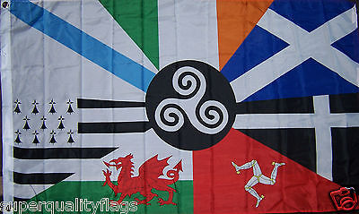 NEW 3x5 ft CELTIC NATIONS IRELAND SCOTLAND WALES ISLE MAN BRITTANY GALICIA FLAG
