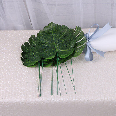 12P Tropical Single Large Artificial Leaves Plastic Silk Fake Leaves Home Decor