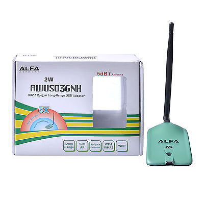 Alfa AWUS036NH 802.11n 2000MW WiFi Wireless-N USB Adapter 5dbi Antenna 2W