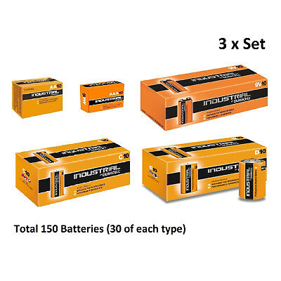 30x AA / AAA / C / D / 9V Duracell Industrial Alkaline Batteries for Electronics