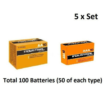 50 x AA & AAA Duracell Industrial Alkaline 1.5v  Multi Batteries for Electronics