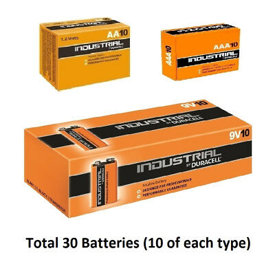 10 x AA / AAA / 9V Duracell Industrial Alkaline Multi Batteries for Electronics