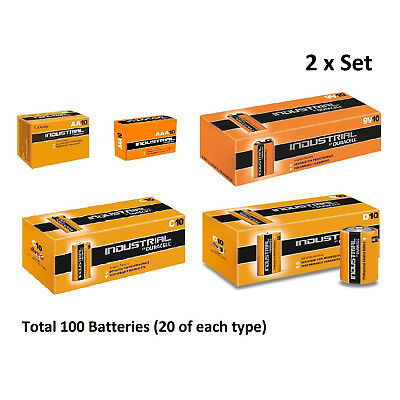 20x AA / AAA / C / D / 9V Duracell Industrial Alkaline Batteries for Electronics
