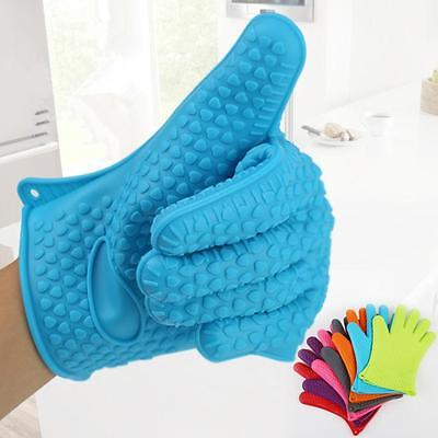 Heat Resistant Silicone Oven Gloves Kitchen Potholder BBQ Grill Protector Blue