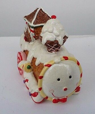 Christmas Gingerbread House Train Ornament Statue Resin Xmas Decoration Unique