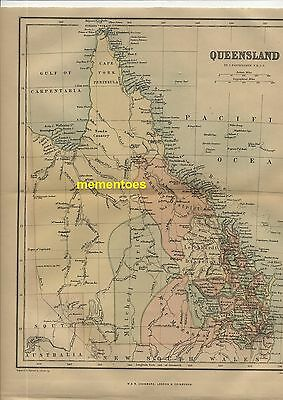 Queensland Australia Map 1863 Antique Vintage