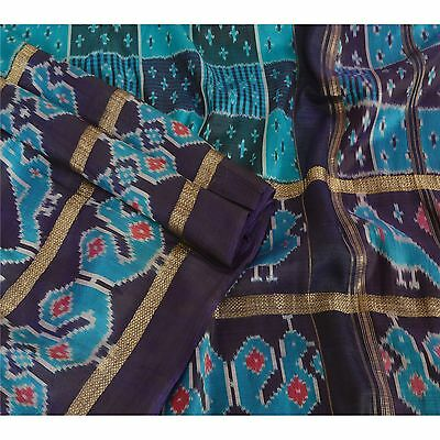 Sanskriti Vintage Indian Saree Woven Patola Sari Fabric Pure Silk Soft Blue