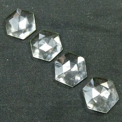 2 Pair Natural Crystal Quartz 18mm Hexagon Faceted Gemstone Making Jewelry 4554