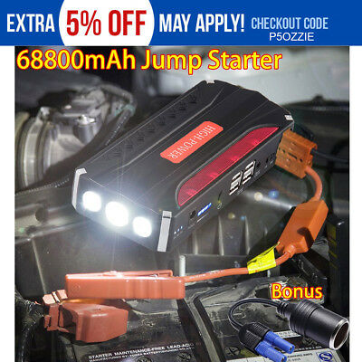 4USB 68800mAh Car Jump Starter Booster Charger Power bank Battery Auto SOS LED