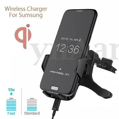 Qi Wireless Car Charger Holder Dock Air Vent Mount for iPhone 8/8Plus X Samsung