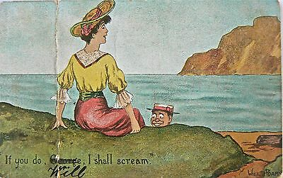 Postcard.comic Card By Will Adams.'if You Do I Shall Scream'.about 1905