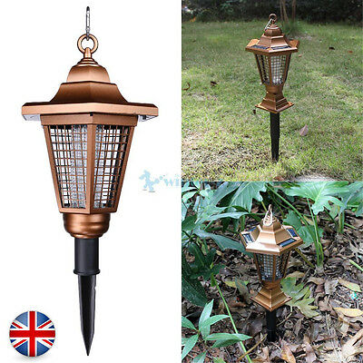 UV 2 LED Solar Outdoor Powered Anti Mosquito Light Fly Killer Lawn Lamp
