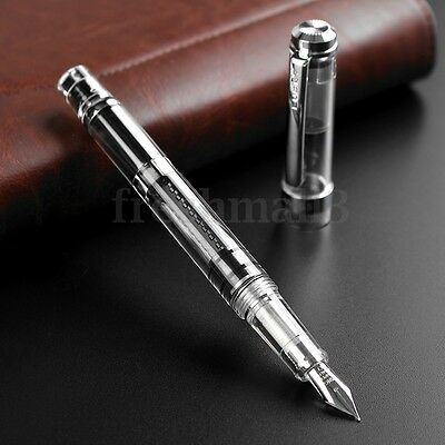 Wing Sung 698 Clear Transparent Demonstrator Fountain Pen 0.38mm/0.5mm Soft Nib
