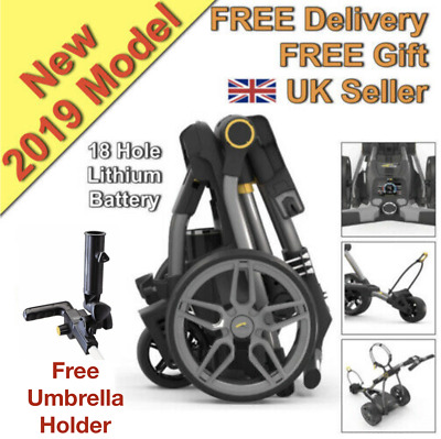 New 2017 Powakaddy Compact C2 Electric Golf Trolley 18 Hole Lithium - UK Seller