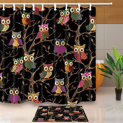 71 Waterproof Polyester Fabric Shower Curtain Liner Bathroom Mat Set Owl Family