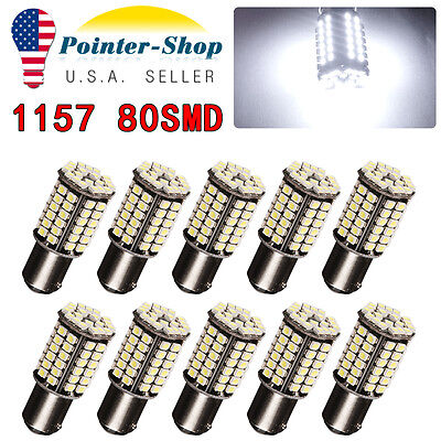 10 X White 1157 BAY15D 3528 Chip 80 SMD Tail Brake Stop LED Light Bulbs 1142 12V