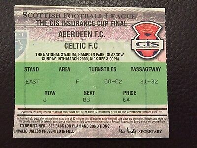 Aberdeen v Celtic Used Match Ticket Stub CIS Cup Final 2000 Scottish