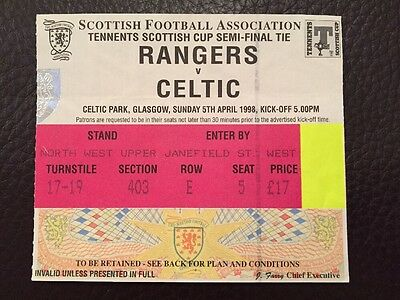 Rangers v Celtic Used Match Ticket Stub Scottish Cup Semi Final 1998