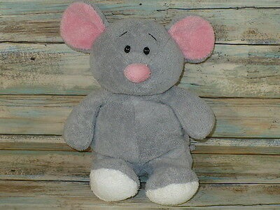 """Ty Pluffies SQUEAKIES Gray Mouse Baby Plush Stuffed Animal LOVEY 11"""" tall 2007"""