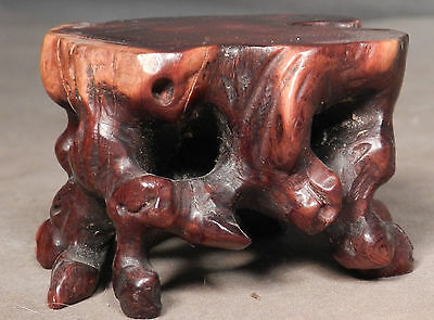 Antique Chinese Carved Lignum Vitae Philosopher Root Burl Stand Display Boxwood