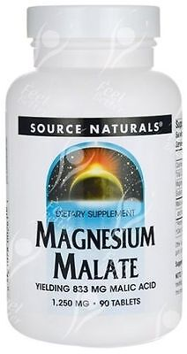 Magnesium Malate 90 Caps 1250 Mg Muscle And Energy Promotion Source Naturals