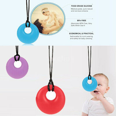 Teething necklace baby teether autism chew BPA free silicone Pendant Chew Toys