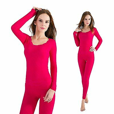 OYBY Women's Lace Stretch Seamless Thermal Underwear Set Round neck rose Red