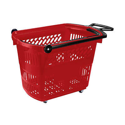 Plastic Shopping Basket on Wheels 3 Colours Plastic Rolling Baskets 33 Litres